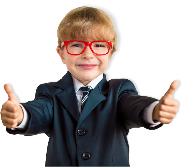 kid wearing eyeglass doing OK sign